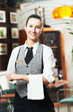 Waitress girl of commercial. Restaurant in uniform waiting an order Stock Images