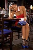 Waitress girl of commercial restaurant in uniform Stock Photo