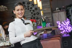 Waitress girl of commercial restaurant Stock Image