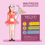 Waitress girl in red wearing cook with a cocktail stock illustration