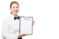 Waitress girl in shirt holding a blank menu isolated Royalty Free Stock Photos