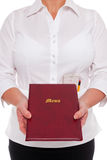 Waitress handing you a Menu Stock Image