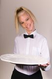 Waitress Holding Blank Plate Stock Photography