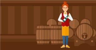 Waitress holding bottle of wine. Stock Photography