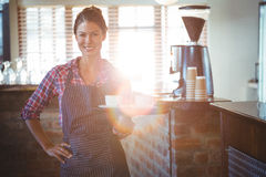 Waitress holding a cup of coffee Royalty Free Stock Photography