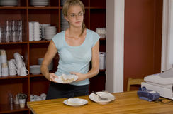 Waitress Holding a Dessert at Cafe Counter Stock Images
