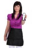 Waitress holding a phone Royalty Free Stock Photography