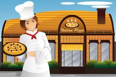 Waitress holding pizza Stock Images