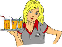 Waitress holding a plate Stock Images