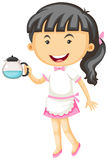 Waitress holding tea pot in hand Royalty Free Stock Photography