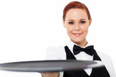 Waitress holding tray Stock Photos