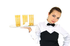 Waitress holding tray Stock Photography