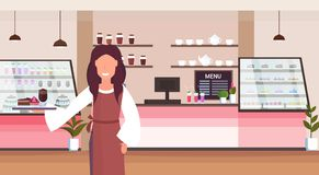 Waitress holding tray with cake and cappuccino coffee shop worker serving clients smiling woman standing modern. Cafeteria interior horizontal cartoon character stock illustration
