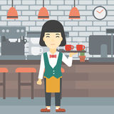 Waitress holding tray with cups of coffeee or tea. Royalty Free Stock Photos