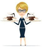 The waitress holding a tray of drink, vector Stock Photos