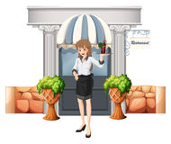 A waitress holding a tray in front of the restaurant Royalty Free Stock Image