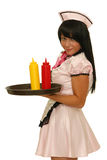 Waitress holding tray with ketchup and mustard bottles Stock Image