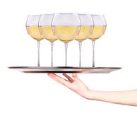 Waitress holding tray with wine glasses royalty free stock photo