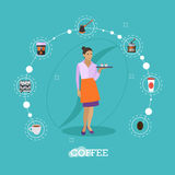 Waitress holds a tray with coffee cups. Cafe concept vector illustration in flat style design. Barista icons. Stock Photo