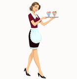 Waitress with ice cream. Young waitress carrying a tray with ice cream Stock Photo