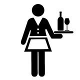 Waitress illustration. Waitress vector illustration on white background Royalty Free Stock Photo