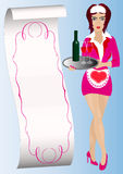 Waitress keeps on tray wine and goblets Royalty Free Stock Photography