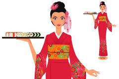 Waitress in kimono holds plate with sushi Stock Photos