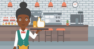 Waitress with like button. Royalty Free Stock Images