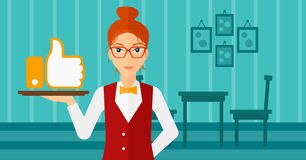 Waitress with like button. Stock Image