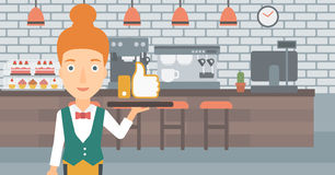 Waitress with like button. Royalty Free Stock Photography