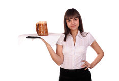Waitress with mug of beer Stock Photos
