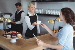 Waitress offering cup of coffee to customer at counter Royalty Free Stock Photo