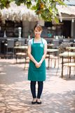 Waitress of outdoor cafe Royalty Free Stock Photography