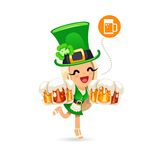 Waitress on the Patricks Day Party Royalty Free Stock Image
