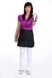 Waitress with phone Stock Photo