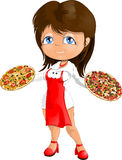 Waitress. The waitress at pizza restaurant stock illustration