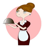 Waitress with a plate Royalty Free Stock Photography