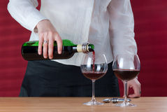 Waitress pouring red wine. Women pouring red wine into wineglass. Next to her stay two wineglasses and carafe. Red background behind her with sun beams and stock images