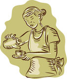 Waitress Pouring Tea Cup Vintage Etching. Etching engraving handmade style illustration of a waitress holding teapot and cup pouring tea vintage style on Stock Photo