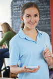 Waitress Ready To Take Order In Cafe Royalty Free Stock Photography