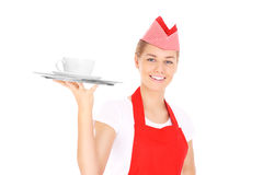 Waitress in red Royalty Free Stock Photo