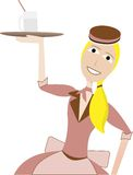 Waitress in retro uniform carrying drink on tray Royalty Free Stock Photos