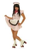 Waitress with roller skate Royalty Free Stock Photo