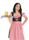A waitress serves beer Royalty Free Stock Photography