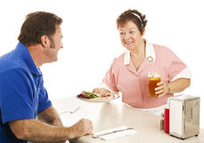 Waitress Serves Turkey Dinner Royalty Free Stock Photo