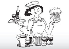 Waitress serving bar drinks. Hand drawn illustration of a waitress or bartender serving alcohol drinks such as beer and wine Royalty Free Stock Image