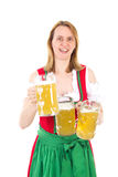 Waitress serving beer for you Royalty Free Stock Photography