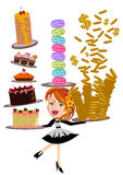 Waitress serving cakes Royalty Free Stock Photography