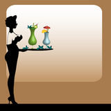 Waitress serving cocktails. Colorful illustration with attractive waitress serving cocktails for guests Stock Image