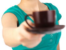 Waitress serving coffee Stock Photos
